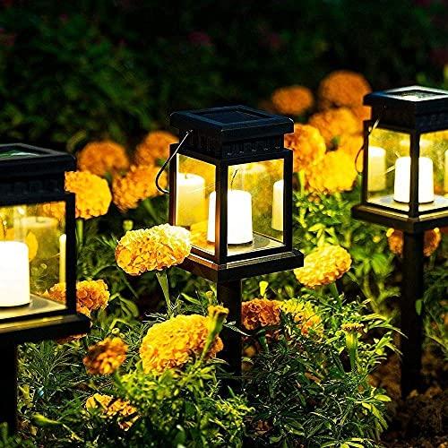 BABYCOW Linterna Solar para Colgar al Aire Libre, Paquete de 6 Luces solares para Caminos, luz con Efecto de Vela con estaca para jardín, Patio, césped, terraza, sombrilla, Carpa, árbol, Patio, entr