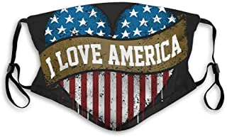 Anti-dust Windproof scraf mask Adjustable I Love You America with Flag