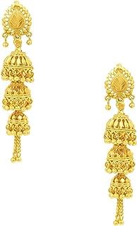3 Layered Traditional Gold 18K Designer Jhumka Earrings (SJ_753)