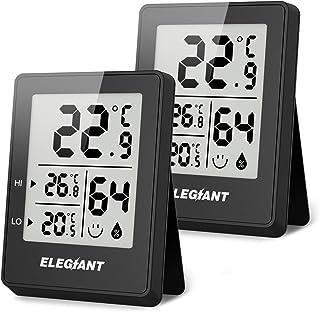 ELEGIANT (2 stycken) bärbar termohygrometer, digital inomhustermometer hygrometer mini temperaturmätare fuktmätare för bab...