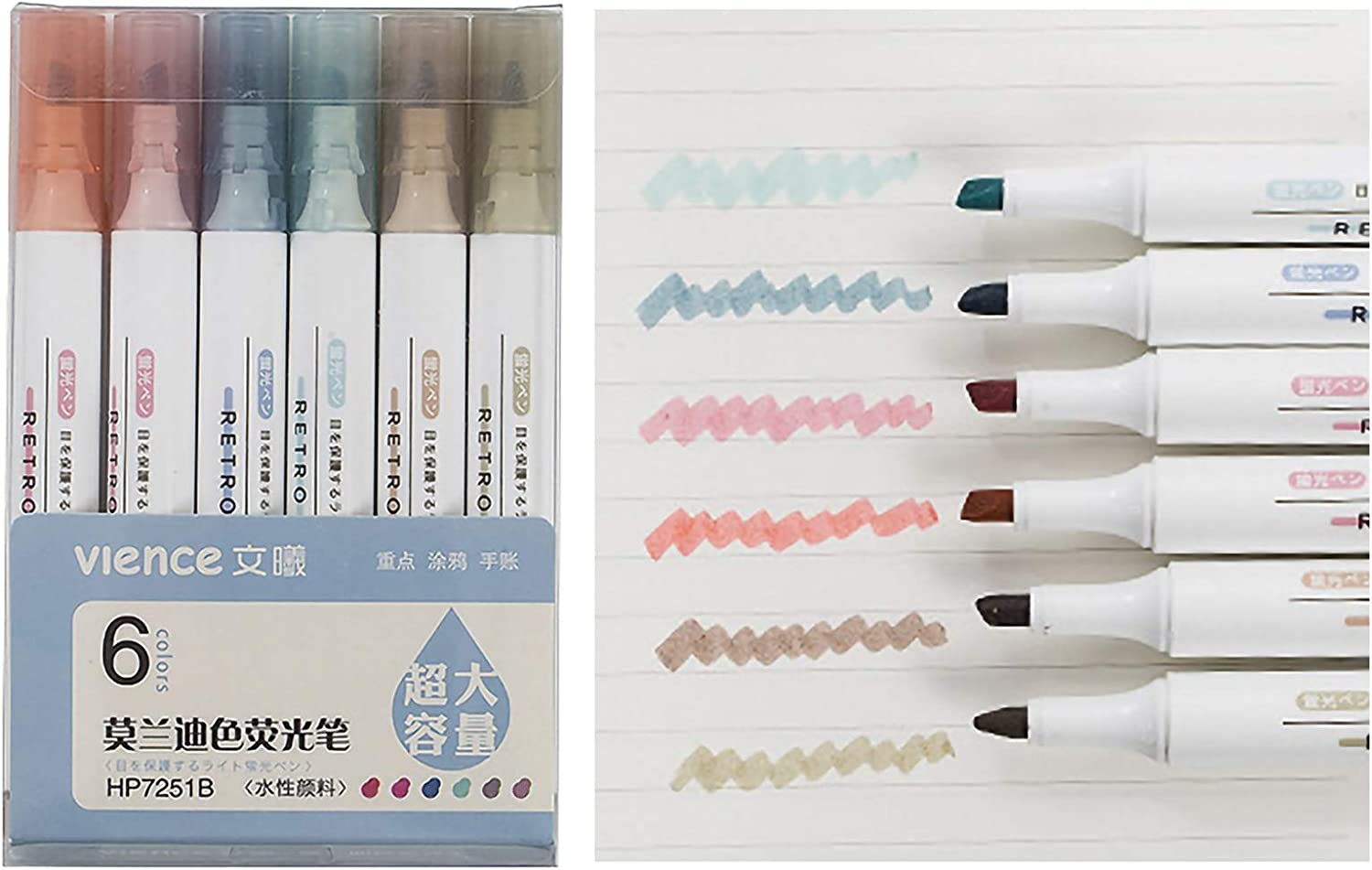 VIENCE Overseas parallel import regular item Highlighter 6 Colors Marker Chisel Pens Tip Quantity limited