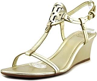 abba868e2 Tory Burch Miller Metallic Leather Wedge Sandals