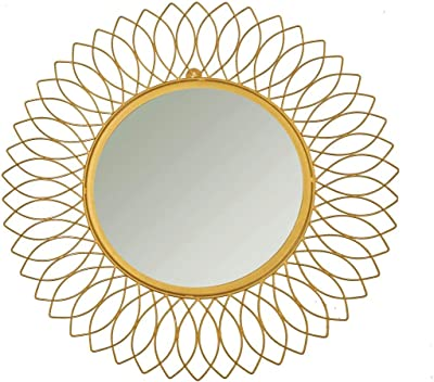 Antique Collection Sunflower Iron Decorative Wall Mirror for Living Room, Gold Color (24 x 24 inch)