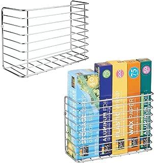 mDesign Farmhouse Metal Wire Wall & Cabinet Door Mount Kitchen Storage Organizer Basket Rack - Mount to Walls and Cabinet Doors in Kitchen, Pantry, and Under Sink - 2 Pack - Chrome
