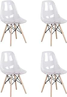Juego de 4 sillas de comedor transparentes de acrílico con patas de madera de haya para cocina, sala de estar, comedor, sala de reuniones, etc.