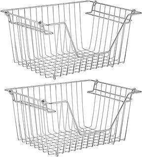 SANNO Stacking Basket Bin Pantry Freezer Storage Baskets Cabinet Organizer - Large Steel Metal Wire - Fruit, Vegetable, On...