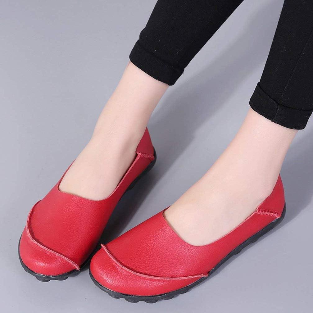 Hsyooes Mocas/ín de Cuero Mujer Loafers C/ómodo y Antideslizante Barco Zapatos para Mujer Zapatos de Conducci/ón