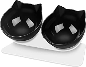 Double Cat Dog Bowls Elevated Cat Food Water Bowls with Raised Stand 15° Tilted Bowl for Cats and Small Dogs(Black)