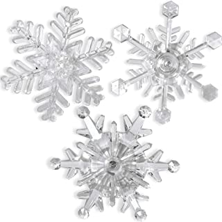 BANBERRY DESIGNS Snowflake Window Lights - Pack of Three Suction Cup Acrylic Snowflakes - LED Color Changing - Snowflake Decorations – Night Light Window Clings- Seasonal Window Bling