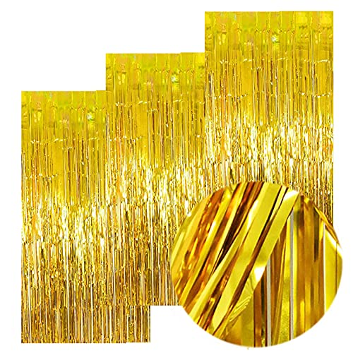 3Packs 3.2ft x 8.2ft Gold Foil Fringe Curtain, Gold Metallic Tinsel Curtain, Metallic Gold Streamers Backdrop for Bachelorette Engagement Wedding Birthday Gold Party Decorations
