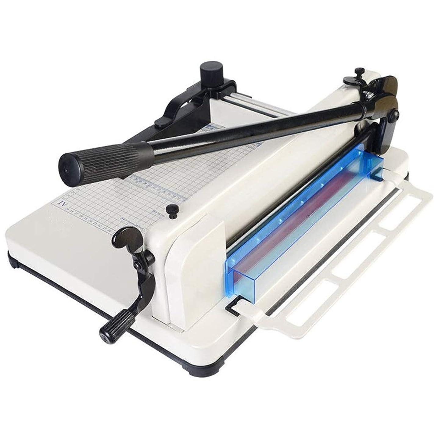 デコラティブ遠近法縞模様のペーパーカッター ヘビーデューティA4紙ギロチンカッタートリマー高速度鋼ブレード切断機 (色 : 白, サイズ : 61x21x39cm)
