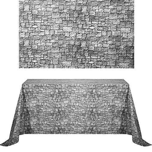 Chuangdi 2 Sheets 4.5 x 9 Feet Stone Wall Backdrop Stone Wall Scene Setter Brick Sheet Wallpaper Curtains Door Removable Brick Tablecloth Photo for Winter/Halloween Party (Grey Brick)