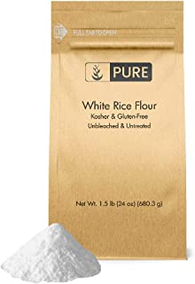 White Rice Flour (1.5 lb.), Gluten-Free, Fat-Free, Sodium-Free, Unbleached & Untreated, Vegan