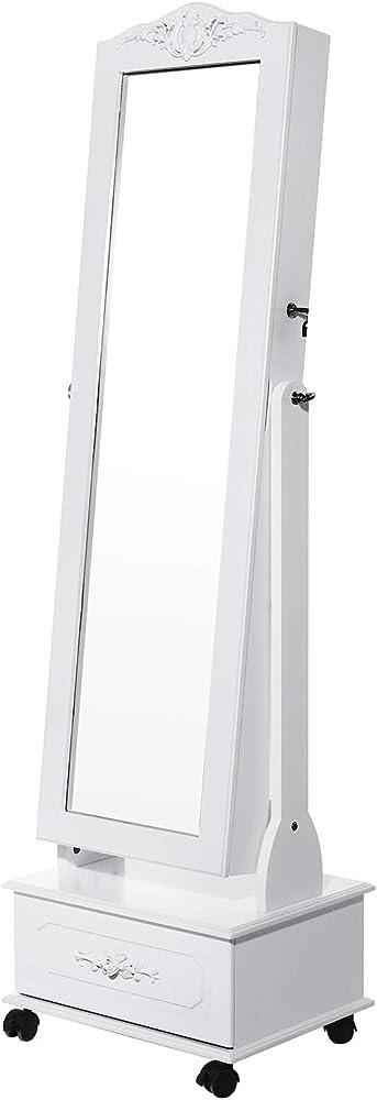 Songmics led portagioie armadio per gioielli con specchio con base a cassettiera a rotelle girevoli JBC61W