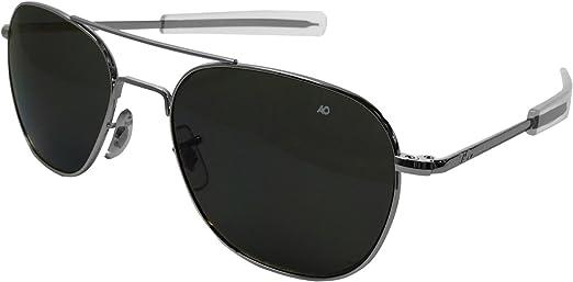 Authentic AO Eyewear Silver Frame Bayonet Temple True Color Grey Glass Lens Sunglasses