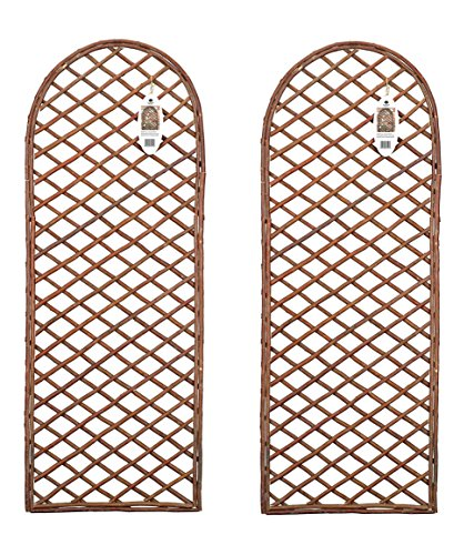Ruddings Wood Pack of 2 x Willow Trellis Panel Round Top - Curved Garden Wall Trellis