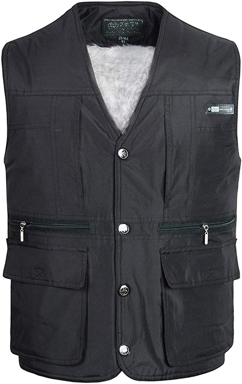 Zoulee New Mens Casual Work Utility Hunting Fishing Travels Sports Warm Vest with Multiple Pockets