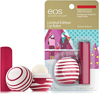 EOS Peppermint Cream Visibly Soft Sphere & Pomegranate Raspberry Organic Stick 2 pc. Set Limited Edition Holiday 2018