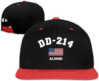 Oopp Jfhg DD 214 Alumni Hip Hop Baseball Cap Trucker Flat Hat for Boy Girl Red