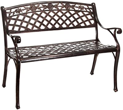 Christopher Knight Home Hamilton Outdoor Cast Aluminum Bench, Copper