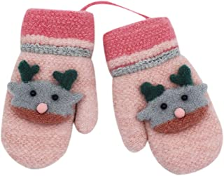 Toddler Kids Winter Warm Knit Mittens with String Plush Lined Cartoon Rabbit Gloves