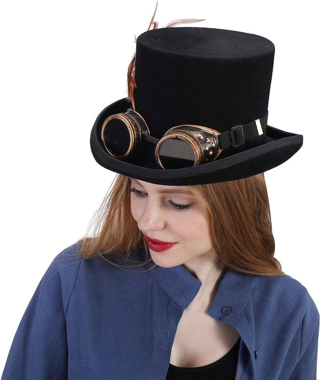 estar en gran demanda RZL Domo Sombreros, Sombreros, Sombreros, Sombrero Steampunk para Mujeres con Pluma  forma única