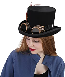HaiNing Zheng Steampunk Hat For Women With Feather
