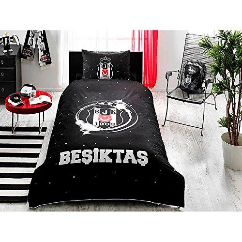 Ti Home Besiktas Drei Star schwarz weiß Lizenzprodukt Bettbezug-Set, 100% Baumwolle Ranforce, Single Größe 3-teiliges Bettwäsche-Set