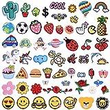 LAOZHOU 60 Stück Patches zum Aufbügeln, Niedlich DIY Kleidung Patches Aufkleber, Bügelbilder Kinder Zum Aufbügeln Patch Sticker Jeans Kleidung Patches Pflanzen Tiere Cartoon