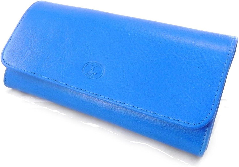 [On SALE   SOLDES  ]   Large leather wallet  Frandi  york royal bluee green.