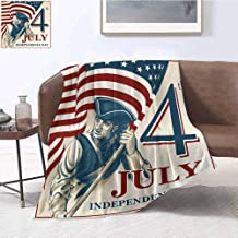 4th of July Plush Blanket Sketch Style Soldier Holding The Old Glory Independence Day Themed Illustration Super Soft and Comfortable Warm Blanket 70
