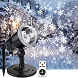 Christmas Projector Lights Outdoor, Holiday Snow Projector with Wireless Remote Control for Landscape Decorative Snowflake Lighting on Christmas New Year Birthday Party covering house in snow flakes