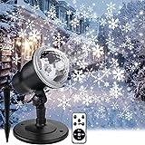 Proiettore Luci Natale con Fiocco di Neve, Proiettore Natale Esterno ed Interno IP44 con Telecomando,Decorazioni Natalizie per la Casa,Adatto per Natale,Compleanno