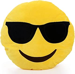 YIWA 1 X Round Oi Emoji Smiley Emoticon Cushion Pillow Stuffed Plush Toy Doll Yellow(very Cool+free Valentine's Day Gifts) Sunglasses, 32cm