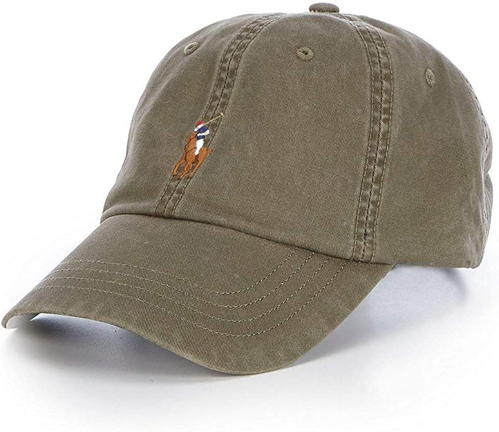 Polo Ralph Lauren Men`s Embroidered Chino Baseball Cap with Leather Strap
