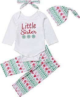 Infant Baby Girls Boys Outfits Snowflake Pattern My First Christmas Long Sleeve Romper+Pants+Headband+Hat