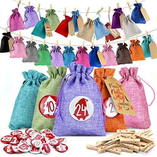 Cheer4bee Adventskalender zum Befüllen, 24 Weihnachten Geschenksäckchen, Jutesäckchen,1-24 Zahlen Buttons - für DIY Weihnachten zum Befüllen, Adventskalender 2020 Kinder