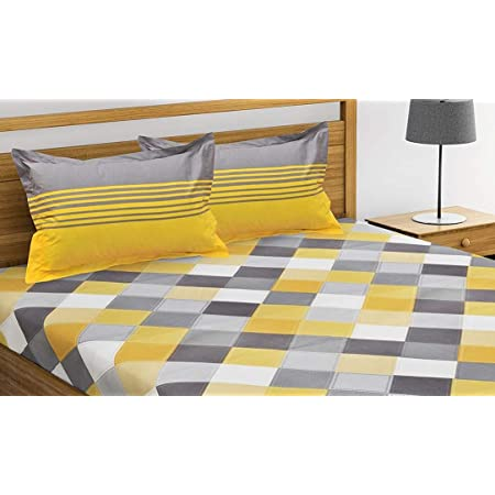 ADHIYAGYA Presents Jaipuri Printed 144 TC Cotton Double Bedsheet for Double Bed with 2 Pillow Covers Set, (Queen Size Yellow)