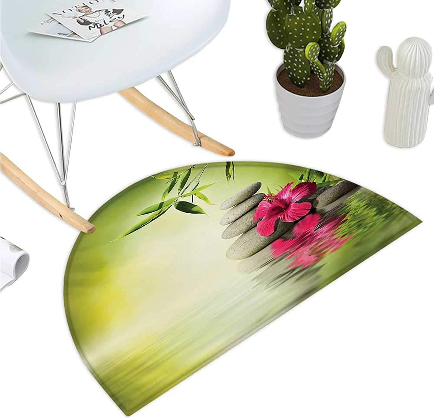 Spa Semicircle Doormat Stones and Bamboo Leaves on The Water Pool Meditation Freshness Relaxing Theme Entry Door Mat H 43.3  xD 64.9  Apple Green Magenta