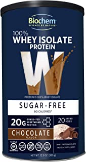 Biochem 100% Whey Isolate Protein - 12.5 oz - Sugar Free Chocolate - Keto-Friendly - 20g Vegetarian Protein - Amino Acids ...