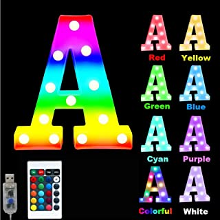 16 Color Changing Marquee Letter Light,Light Up Colorful 26 Alphabet Signs – Home Decor Name Signs – USB Powered LED Remot...