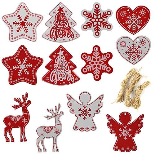 aufodara 12 Pezzi in Legno Multi-Stil Decorazione Albero di Natale Albero di Natale Gioielli con Corda di Iuta da Appendere per Decorazioni di Natale Fai da Te Fai da Te Natale