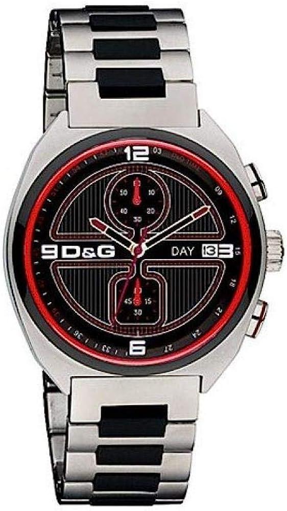 Dolce & gabbana, orologio per uomo, in acciaio inossidabile,  quadrante nero con bordo rosso, cronografo DW0303