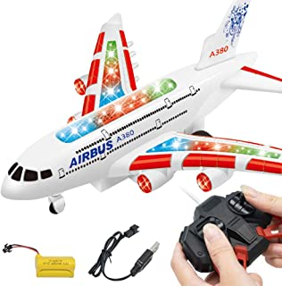 Meiyiu Kids RC Airplane Toys A380 Airbus Toys with Music and Lights Large Electric Remote Control Airplane Toy for Indoors/Outdoors Flight Toys