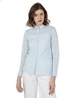 قميص قطن منقوش ومخرم باكمام طويلة للنساء، 8 من سبلاش