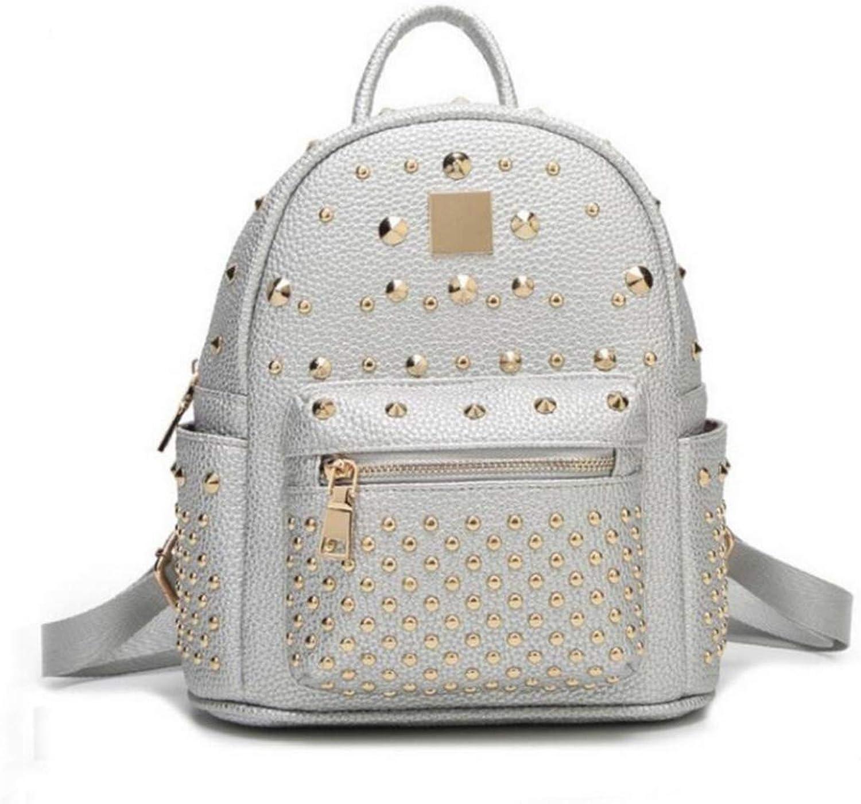 Sakuldes Damen Leder Leder Leder Mode Niet Rucksack Tasche Studentenreiserucksack (Farbe   Silber) B07MNK24CB  Markenschmaus 38eba9
