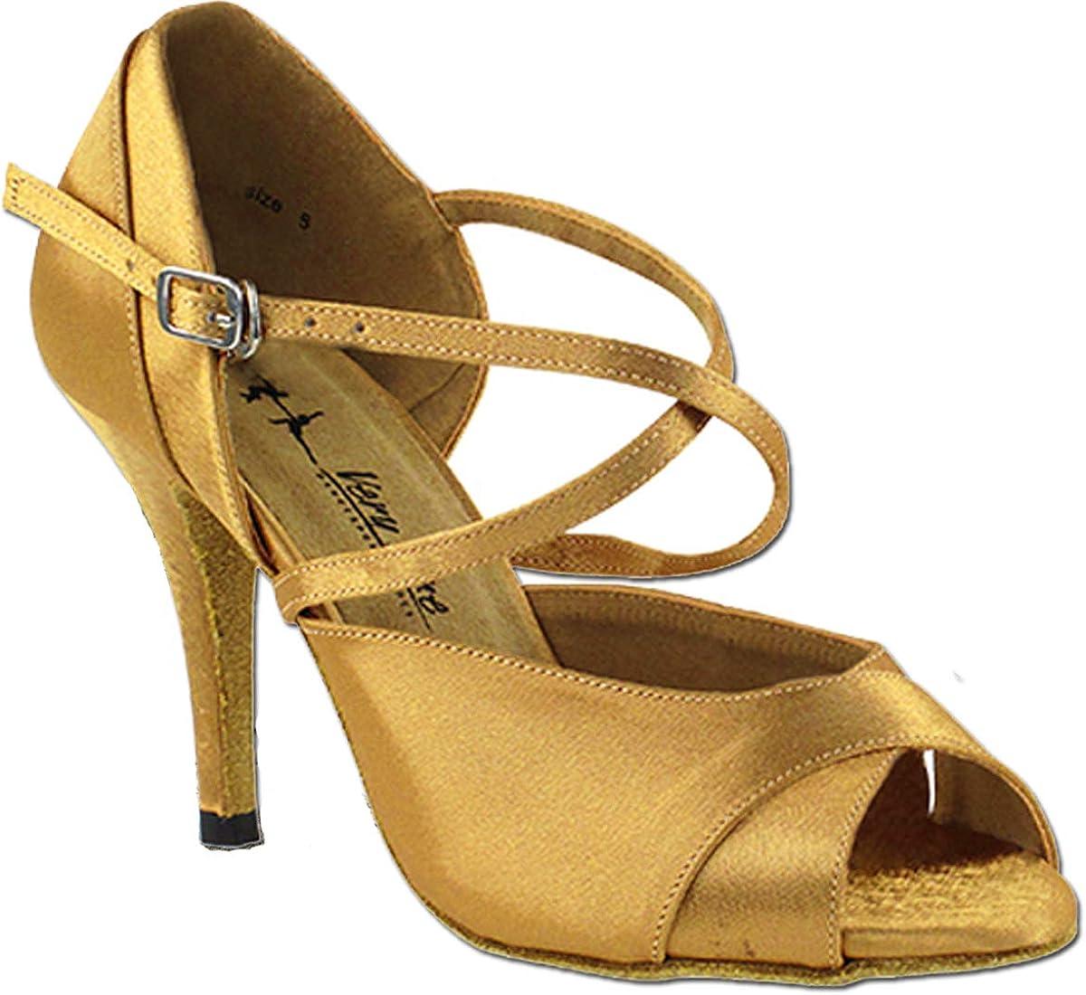 Women's Ballroom Dance Shoes Tango Wedding Party Latin Salsa Dance Shoes Brown Satin 2828LEDSSEB Comfortable - Very Fine 3.5