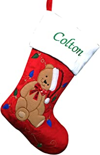 """GiftsForYouNow Teddy Bear Personalized Christmas Stocking, 19"""", Embroidered, Red Plush Stocking"""