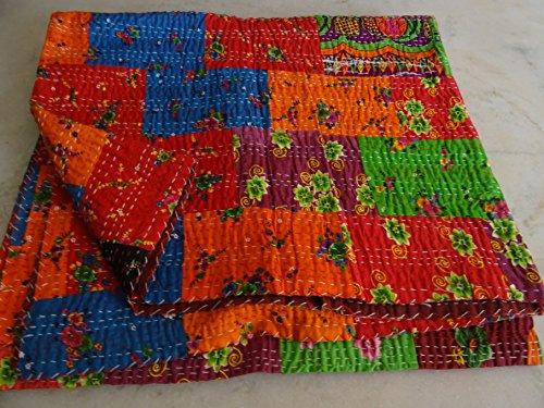 Tribal Textiles asiatiques Imprimé patchwork multicolore Reine Couvre-lit King taille housse couette lit couverture, X, X, X, Parure de lit Bohème x Taille 228,6 x 274,3 cm 1088