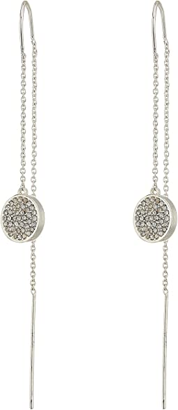 LAUREN Ralph Lauren - Silver and Pave Disc Threader Earrings